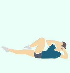 Sporty woman pumps abdominals vector
