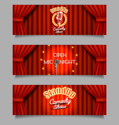 Stand-up comedy show open mic night banners vector