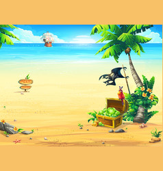 the coast with a chest parrot palm tree pirate vector image