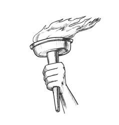 Torch hand hold olympic burning stick retro vector
