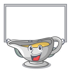 Up board a character dish pouring sauce boat vector