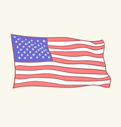 Usa flag icon hand drawn style vector