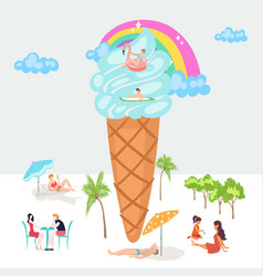 vacationers folk sea beach tiny people over blue vector image
