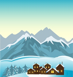 Village in mountain vector
