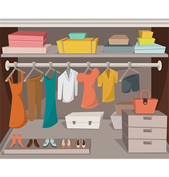 wardrobe room with clothes shoes and boxes vector image