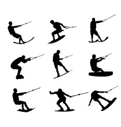 Water skiing man silhouette kite surfer vector