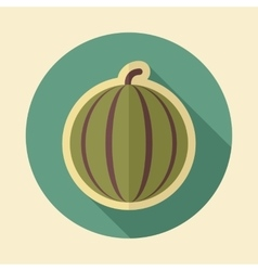 Watermelon retro flat icon with long shadow vector image