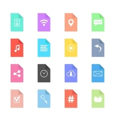 web icons on colored sheets of paper vector image
