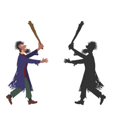 Zombie man with mask on the face and truncheon in vector