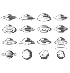 alien spaceship spacecrafts and ufo set cosmic vector image