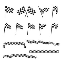 black and white checkered auto racing flags and vector image