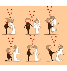 Set of Groom and bride with flying hearts vector image vector image