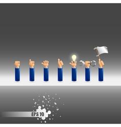 set of seven hand gestures vector image vector image