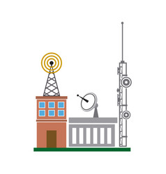 Broadcasting building dish antenna tower wireless vector