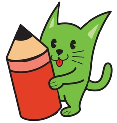 Cat and pencil vector image