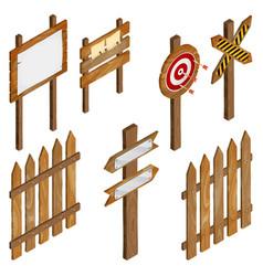 fence wooden signboards arrow sign target dart vector image