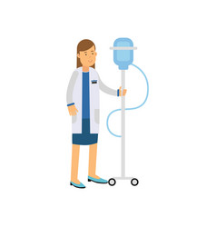 flat cartoon character of woman doctor or nurse vector image