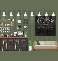 green coffee shop interior vector image