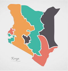 Kenya map with states and modern round shapes vector