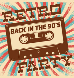 retro party poster design disco music event at vector image