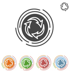Three arrows in a circle process icon vector image