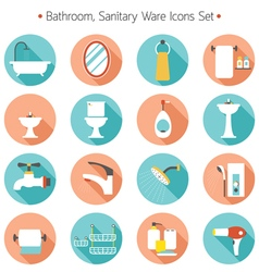 Bathroom Flat Icons Set vector image vector image