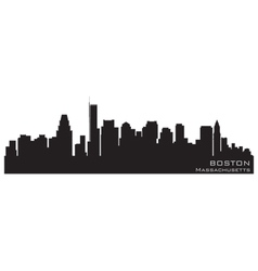 boston massachusetts skyline detailed silhouette vector image vector image