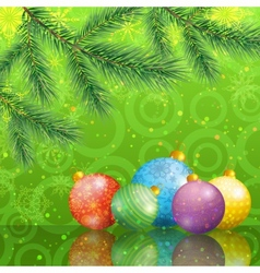 Christmas background with branches and balls vector image