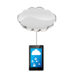 cloud storage connected with tech tablet device vector image