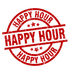 happy hour round red grunge stamp vector image vector image