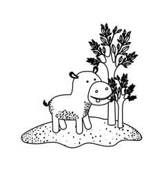 hippopotamus cartoon next to the trees in black vector image