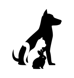 pet shop veterinary sign silhouette dog cat bunny vector image
