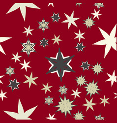 Seamless texture stylized flowers and stars on vector