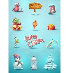 set of Christmas elements vector image