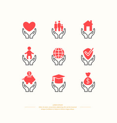 set of linear icons support and care vector image vector image