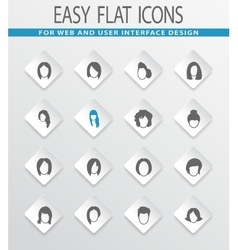 woman silhouettes icons set vector image