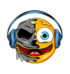 a joyful face expression with blue headset vector image