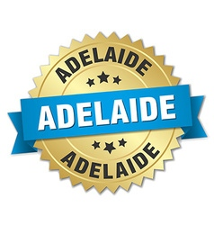 Adelaide round golden badge with blue ribbon vector
