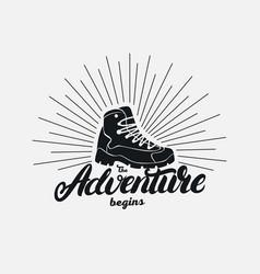 adventure begins hand written lettering vector image