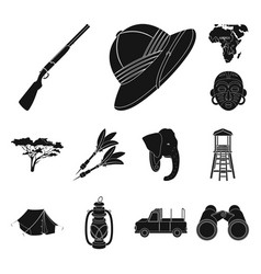 african safari black icons in set collection for vector image