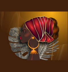 Afro hairstyle beautiful african woman red turban vector