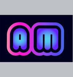 am a m pink blue gradient alphabet letter logo vector image