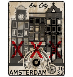amsterdam poster t shirt design vector image