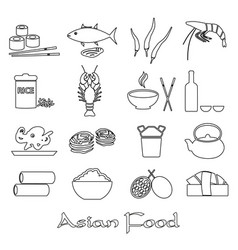 asian food theme set of simple outline icons eps10 vector image