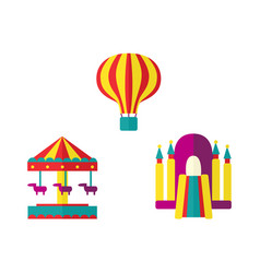 Balloon bouncy castle and carousel icon set vector