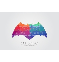bat logo color creative logo design puzzle vector image