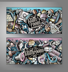 Bathroom hand drawn doodle banners set cartoon vector