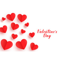 beautiful origami red hearts valentines day banner vector image
