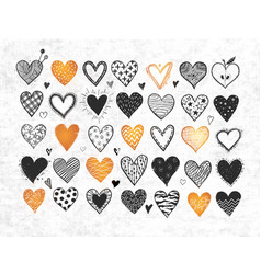 black and gold doodle hearts on white textured vector image
