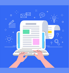 blogger typing new post in blog flat line concept vector image